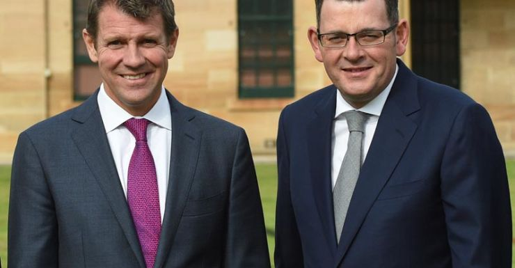 Mike Baird and Daniel Andrews were all smiles at a leader's retreat in July.