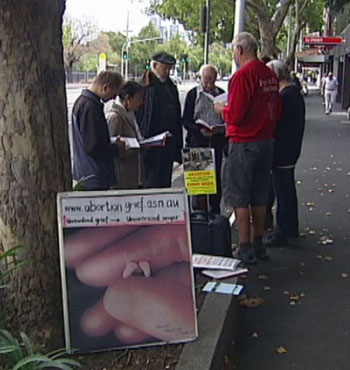 Anti-abortion protesters hold regular vigils outside the East Melbourne Fertility Clinic.