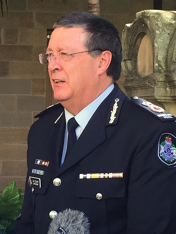 Queensland Police Minister Jo-Ann Miller (right) and  Queensland police commissioner Ian Stewart speak to the media at state parliament in Brisbane, Tuesday, Aug. 11, 2015. Stewart has been granted a two-year contract extension, which has been lambasted by the Queensland Police Union. (AAP Image/Alexandra Patrikios) NO ARCHIVING