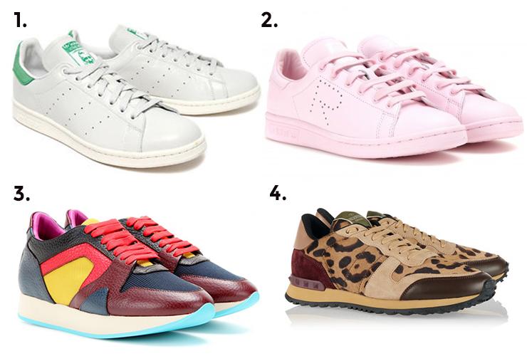 1. Adidas Originals Stan Smith sneaker, $130 2. Adidas x Raf Simons, $502.43 3. Burberry, $845 4. Valentino, $1285.12