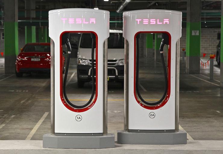 A Tesla supercharger station in Sydney.