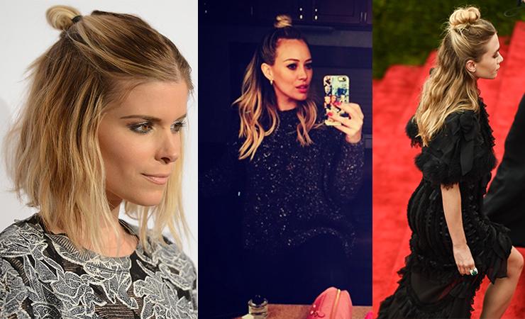 L-R: Kate Mara, Hilary Duff and Ashley Olsen wear their huns with pride.