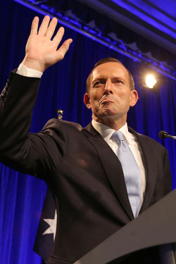 Mr Abbott after being elected as PM in 2013. Photo: Getty