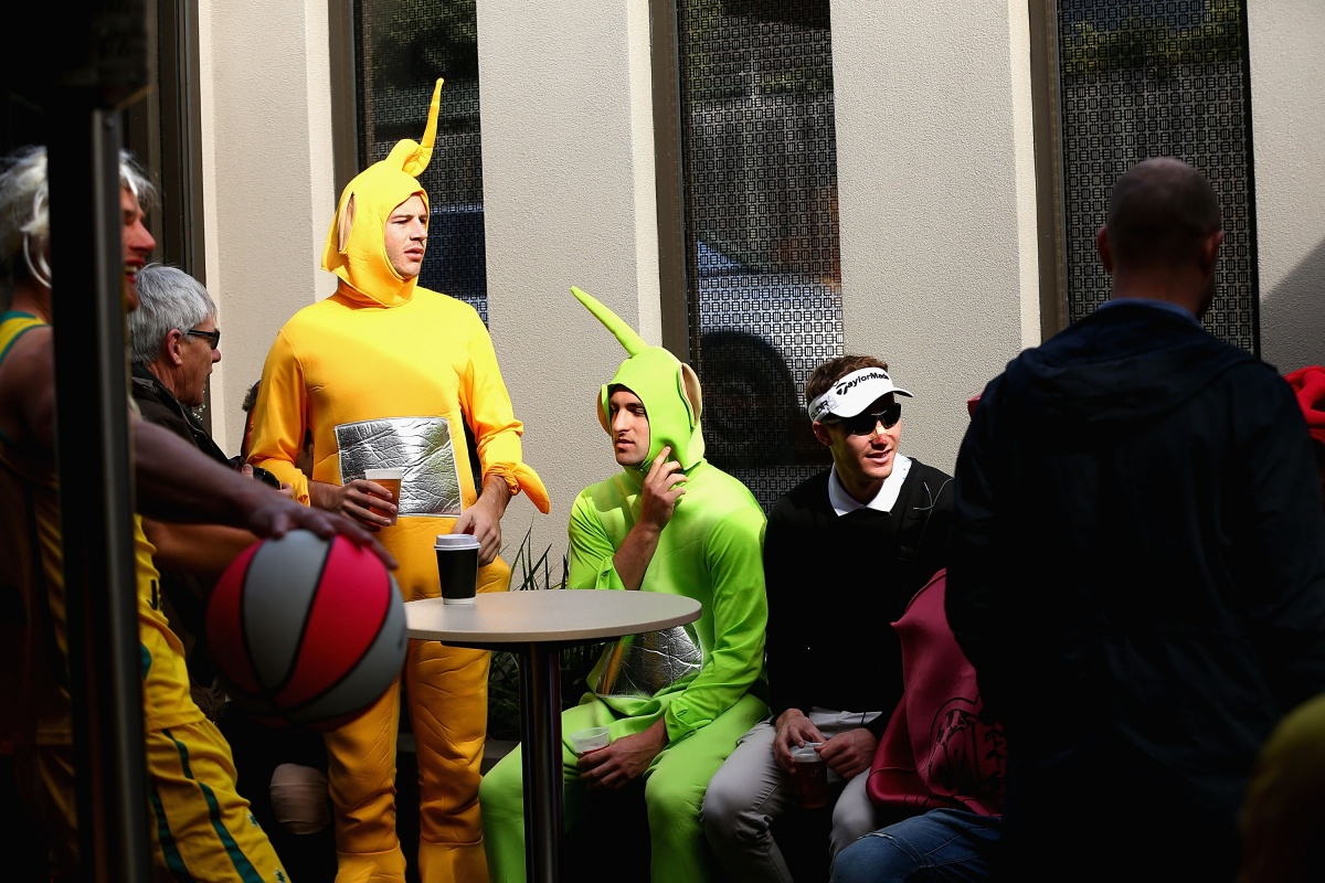 Some Teletubbies having a beer on Robert Allenby's credit card.