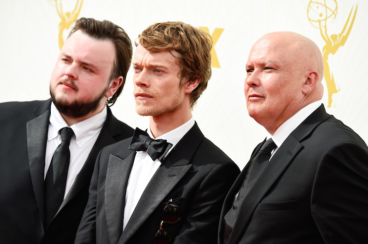 Samwell Tarly (John Bradley-West), Theon Greyjoy (Alfie Allen) and Lord Varys (Conleth Hill) from 'Game of Thrones'.