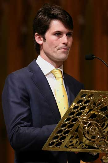 Bart Cummings' grandson James speaks at his state funeral. Photo: Getty
