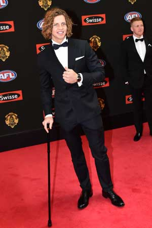 Fyfe needed a cane after fracturing his leg on Friday night. Photo: Getty