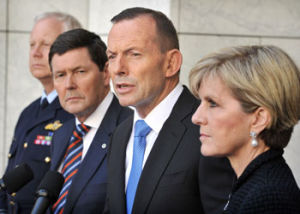 Australian Defence Force chief Mark Binskin, Defence Minister Kevin Andrews, PM Tony Abbott and Foreign Minister Julie Bishop announced the airstrikes on Wednesday. Photo: Getty