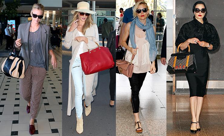 Celebrities getting plane fashion right include (L-R): Maria Sharapova, Rosie Huntington-Whiteley, Sienna Miller and Dita Von Teese.