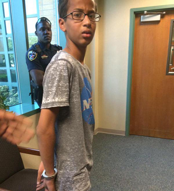 The boy was arrested and handcuffed. Photo: Twitter