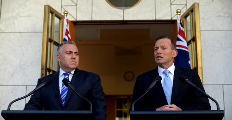 """Joe Hockey and Tony Abbott declare the tax """"dead""""."""