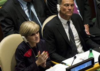 Mr Panton sat beside Ms Bishop at the UN. Photo: Reuters