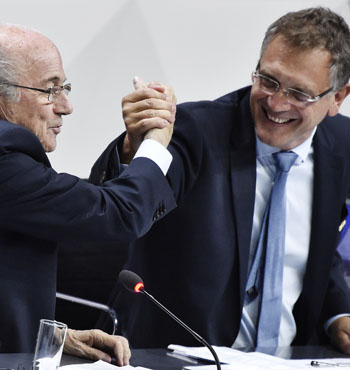Jerome Valcke (r) was FIFA president Sepp Blatter's 'right-hand man'.