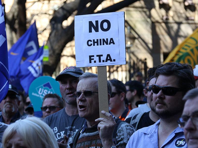 AUSTRALIA - PROTEST - CHINA FTA