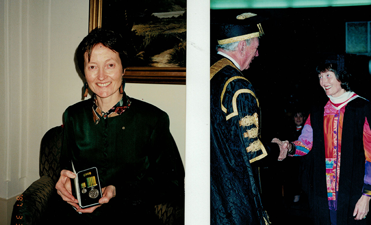 Christine receiving a Public Service Medal in 1994, one year before her diagnosis.
