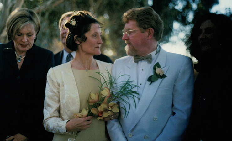 Christine with her husband on their wedding day.