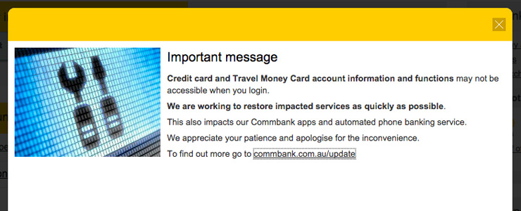 Customers received this message on CommBank's internet banking.
