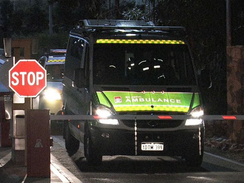 An ambulance leaves the Yongah Hill detention centre.