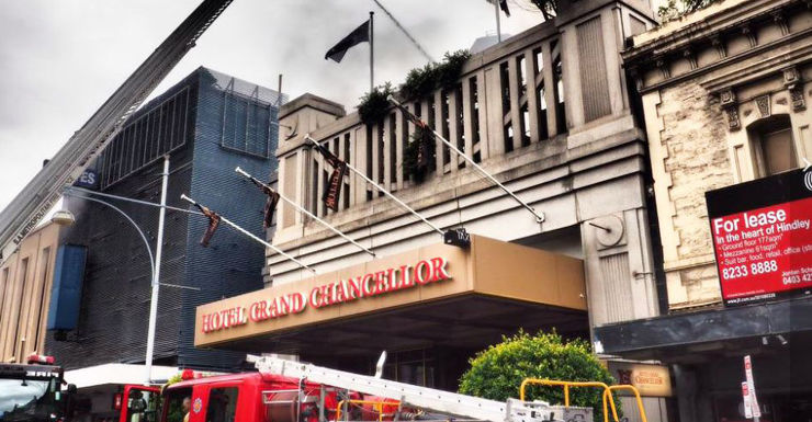 Fire crews at the Grand Chancellor Hotel.