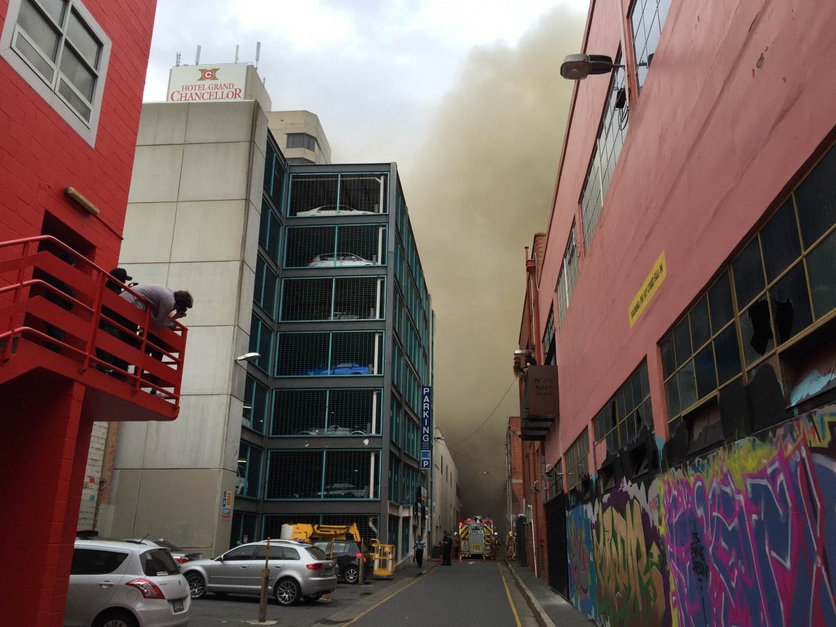 Buildings in Hindley Street have been evacuated as fire crews battle the blaze.