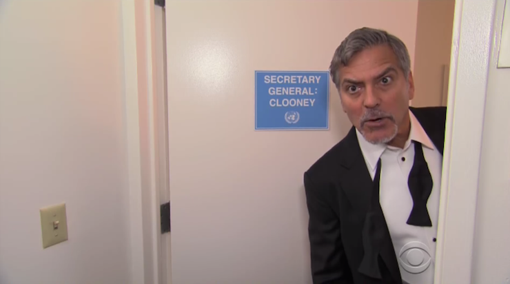 George Clooney was very happy to appear, despite having nothing to promote.