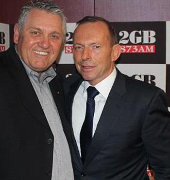 Ray Hadley and Tony Abbott at the radio station.