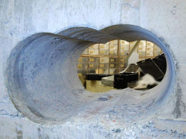 Burglars used cutting equipment to drill through a thick concrete wall.