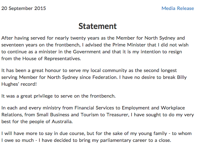 joe hockey resignation