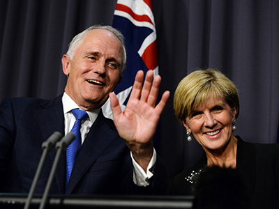 Australian Prime Minister designate Malcolm Turnbull (left) and Deputy Prime Minister designate Julie Bishop speak during a press conference in the Blue Room, after winning the Australian Federal leadership in a party ballot vote, at Parliament House in Canberra, Monday, Sept. 14, 2015. (AAP Image/Sam Mooy) NO ARCHIVING