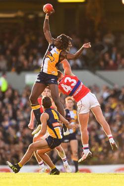 Naitanui's agility will test the Hawks. Photo: Getty