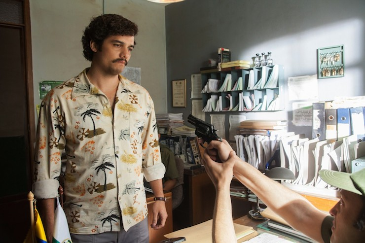Wagner Moura as Pablo Escobar.