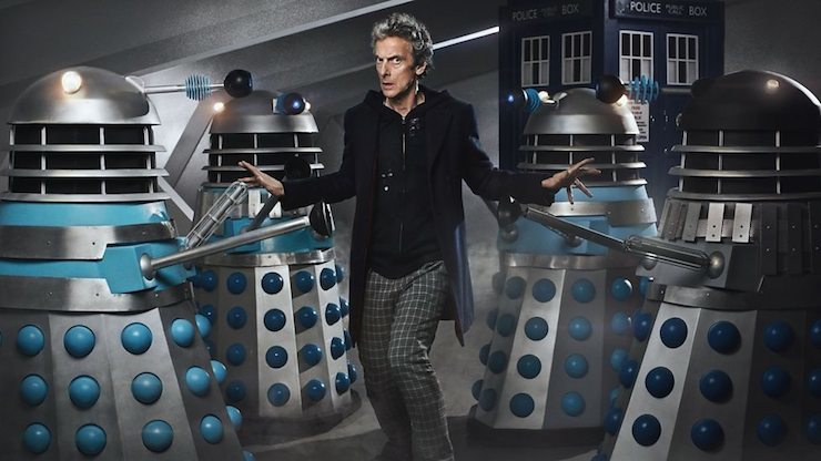 Peter Capaldi as Doctor Who with the alien Daleks.