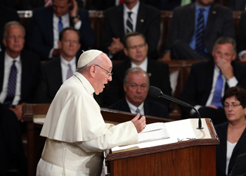 The Pope touched on Immigration, weaponry and climate change, amongst other topics. Photo: Getty