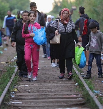Hundreds of migrants cross the border from Serbia into Hungary.