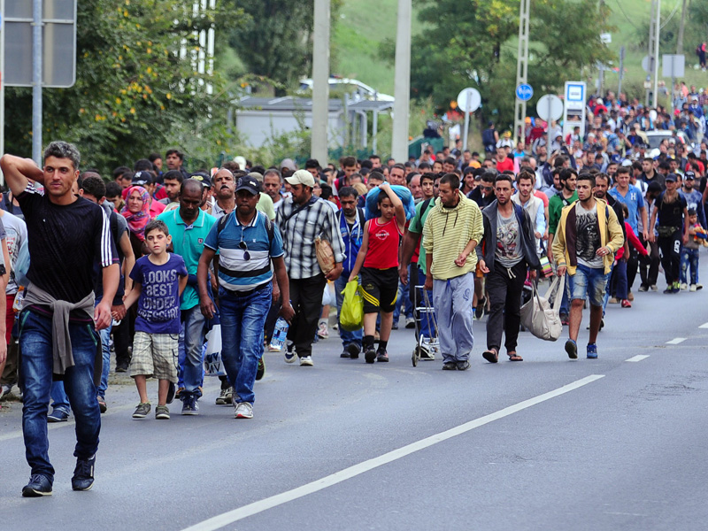 Migrant group of about 500 refugees walks on a road near Budaors, Hungary.