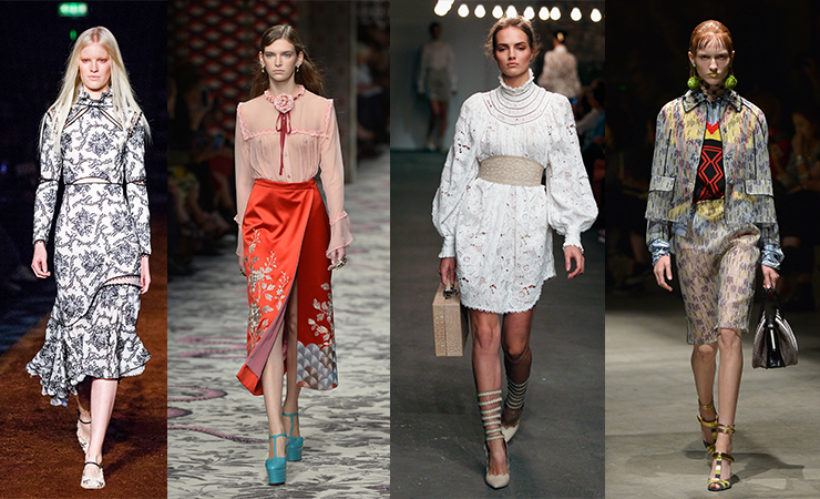 L-R: looks from Erdem, Gucci, Zimmermann and Prada. Photos: Getty