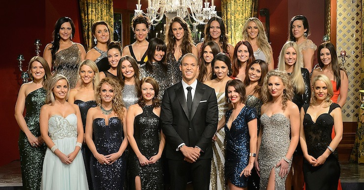 Blake Garvey (centre) with last year's contestants. Photo: Channel Ten