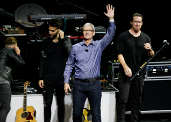 The launch was a rock star event, with CEO Tim Cook introduced by rock band OneRepublic. Photo: AAP