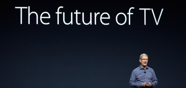Tim Cook launching the new Apple TV earlier this month. Photo: Getty