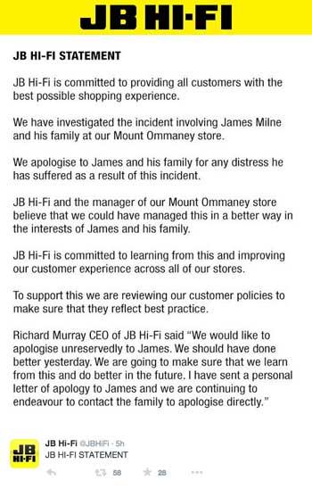 Twitter apology, JB hifi James Milne incident
