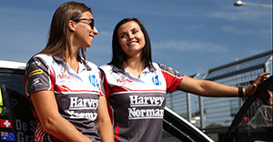 BATHURST, AUSTRALIA - OCTOBER 07: Simona De Silvestro and Renee Gracie drivers of #200 Harvey Norman Supergirls Falcon, speak to the media ahead of the Bathurst 1000, which is race 25 of the V8 Supercars Championship at Mount Panorama on October 7, 2015 in Bathurst, Australia. (Photo by Robert Cianflone/Getty Images)