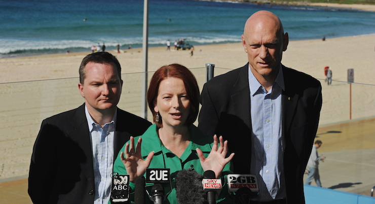 With Chris Bowen and Julia Gillard in 2010.