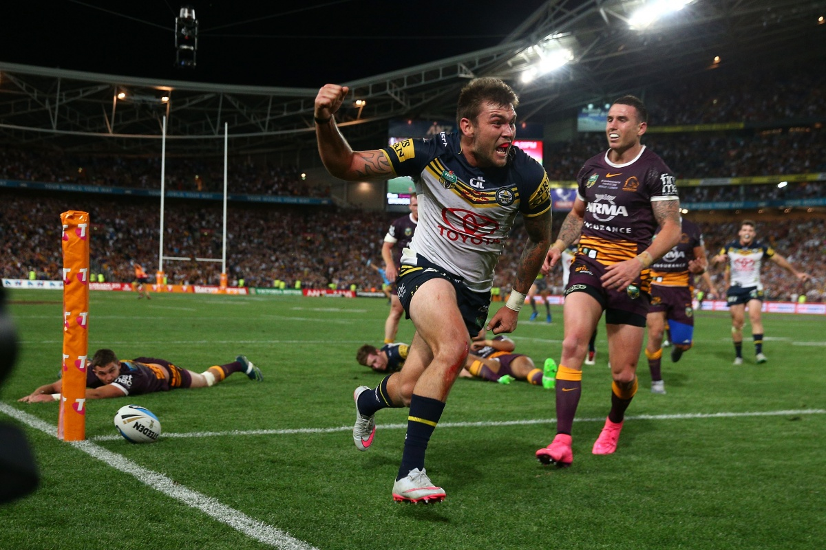 Kyle Feldt scores after a sublime flick from Michael Morgan. Photo: Getty