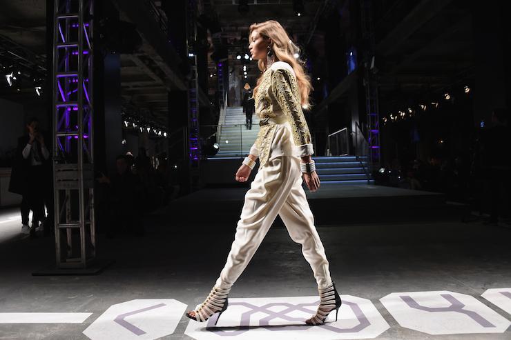 Gigi Hadid rocks a pant on the catwalk.