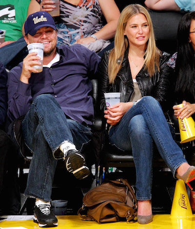 LOS ANGELES, CA - APRIL 27: Bar Rafaeli (R) and Leonardo DiCaprio attend a game between the Oklahoma City Thunder and the Los Angeles Lakers at Staples Center on April 27, 2010 in Los Angeles, California. (Photo by Noel Vasquez/Getty Images)