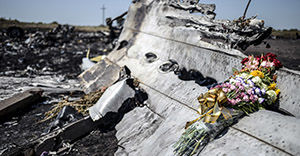 This photo taken on July 26, 2014 shows flowers, left by parents of an Australian victim of the crash, laid on a piece of the Malaysia Airlines plane MH17, near the village of Hrabove (Grabove), in the Donetsk region. Ukraine sought on July 25 to avoid a political crisis after the shock resignation of its prime minister, as fighting between the army and rebels close to the Malaysian airliner crash site claimed over a dozen more lives. Dutch and Australian forces were being readied on July 26 for possible deployment to secure the rebel-held crash site of the Malaysia Airlines flight MH17 in east Ukraine where many victims' remains still lie nine days after the disaster claimed 298 lives. AFP PHOTO/ BULENT KILIC