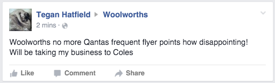 Woolworths Facebook comment