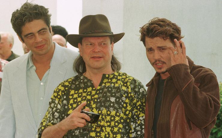 With Benicio Del Toro (left) and Johnny Depp (right) in Cannes in 1998. Photo: Getty