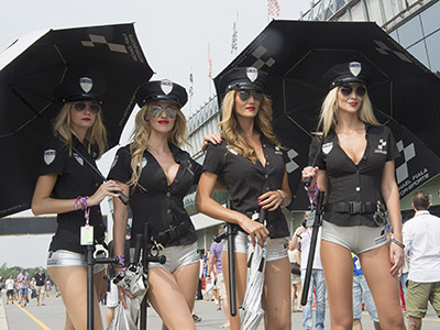 BRNO, CZECH REPUBLIC - AUGUST 15: The grid girls pose in paddock during the MotoGp of Czech Republic - Qualifying at Brno Circuit on August 15, 2015 in Brno, Czech Republic. (Photo by Mirco Lazzari gp/Getty Images)