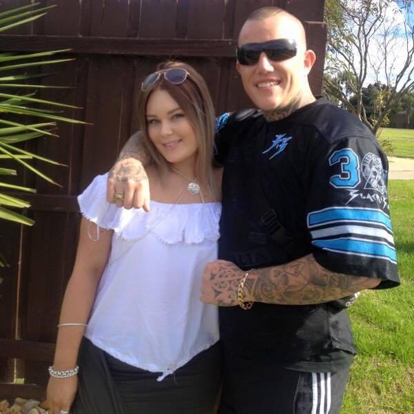 Hayley Van Hostauyen and her boyfriend, the man police suspected is a bikie.Photo: Facebook